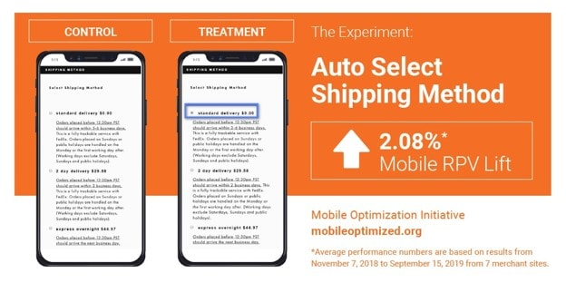 Mobile ecommerce Funnel - mobile cart experiment – Auto Select Shipping