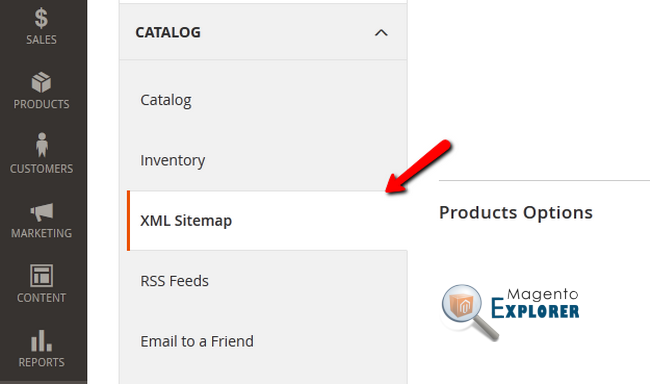 XML Sitemap section magento 2